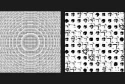 図4 MIT数学者は、数100万の個々の微視的特徴の理想的な配置をメタサーフェス上に素早く決める技術を開発した。これにより光を指定された方法で操作するフラットレンズが造れる。研究チームは数100万の特徴をエッチングしてメタサーフェスを作製(左)。レンズのズームイン画像は、所望の光学効果が出るように、個々の特徴が特殊な方法でエッチングされている(右)。(Credit: Zin LIn)